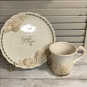 With Grace Surround Us Decorative Plate and Mug